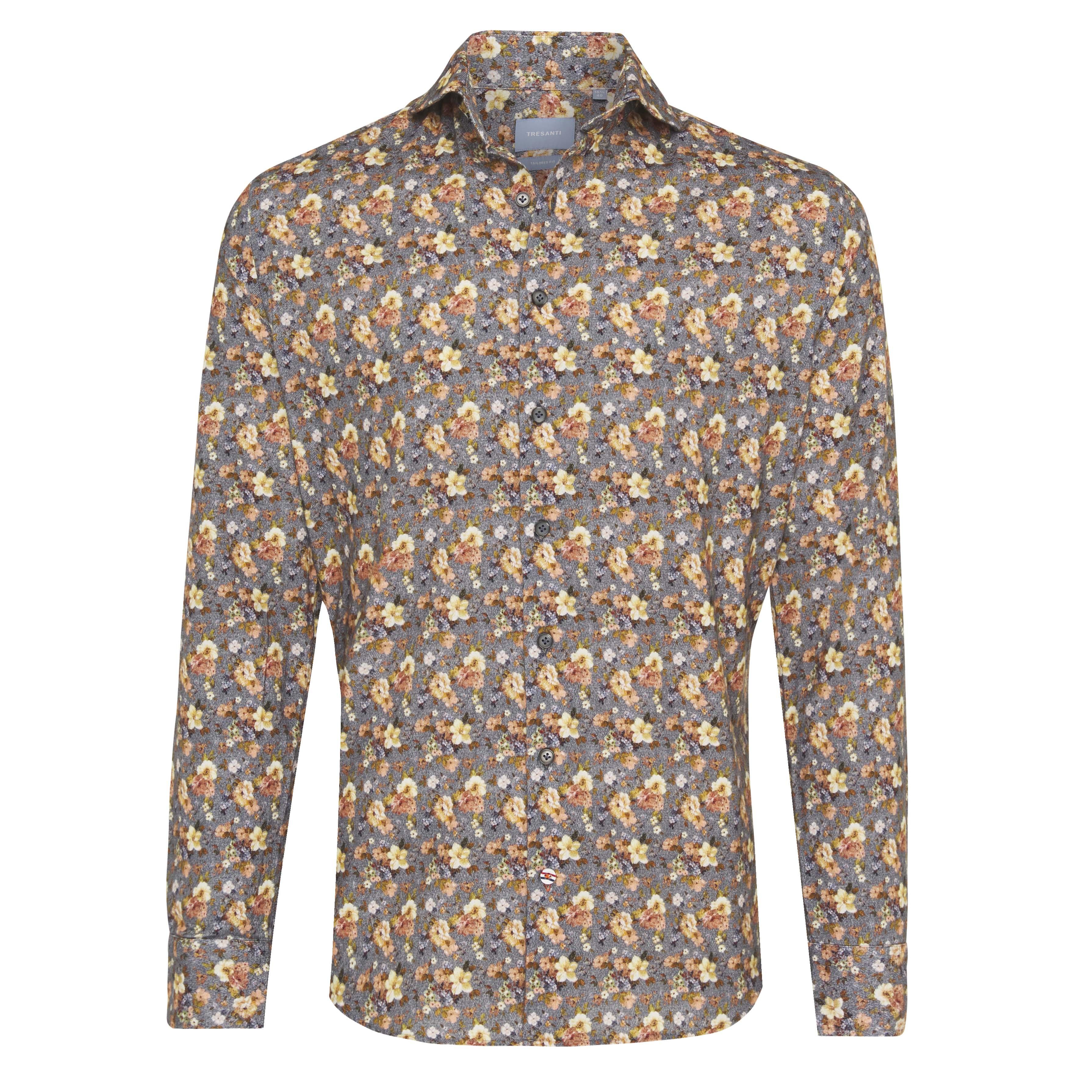 Jerano | Shirt flower print on herringbone yellow