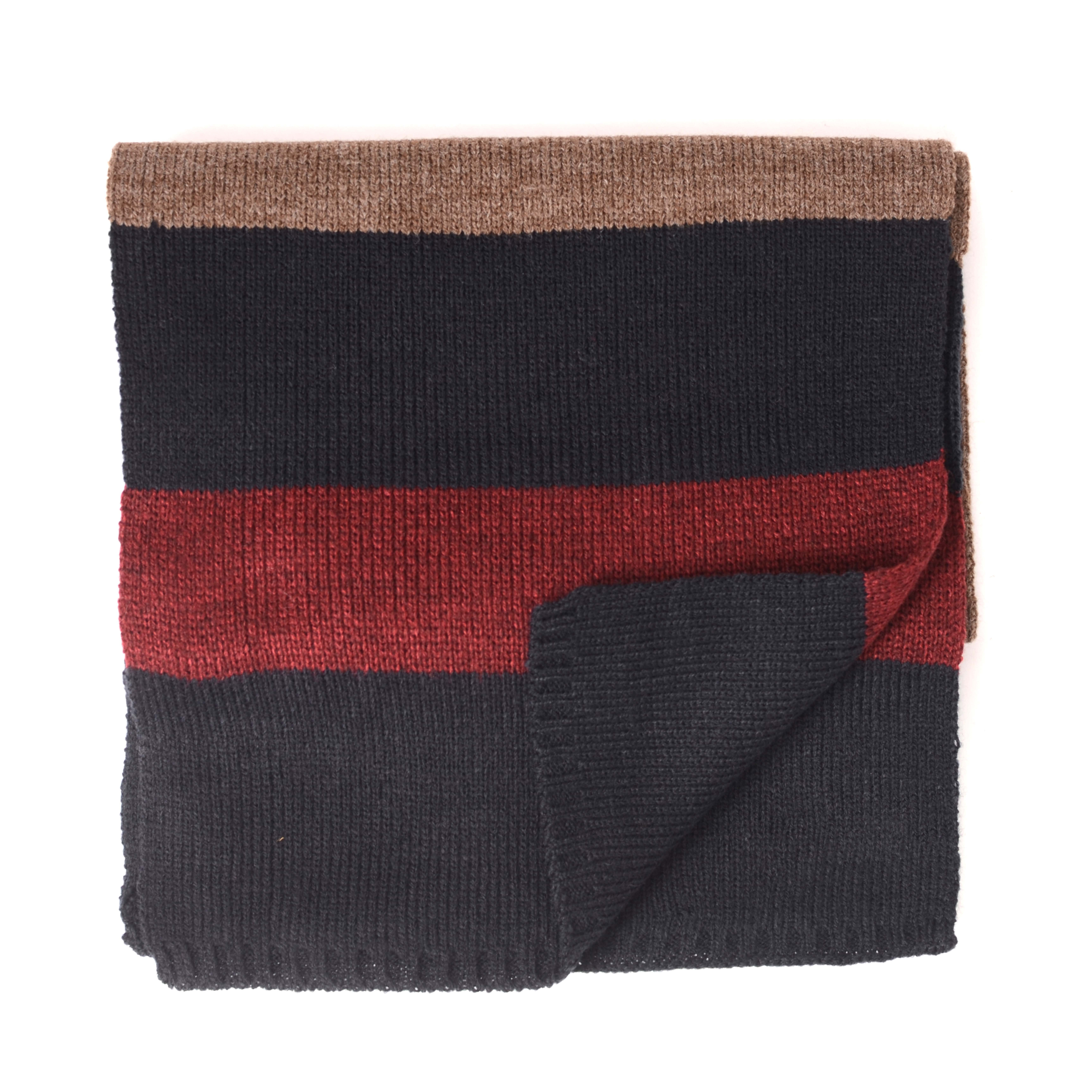 Jordi   Scarf knitted with blocks brown