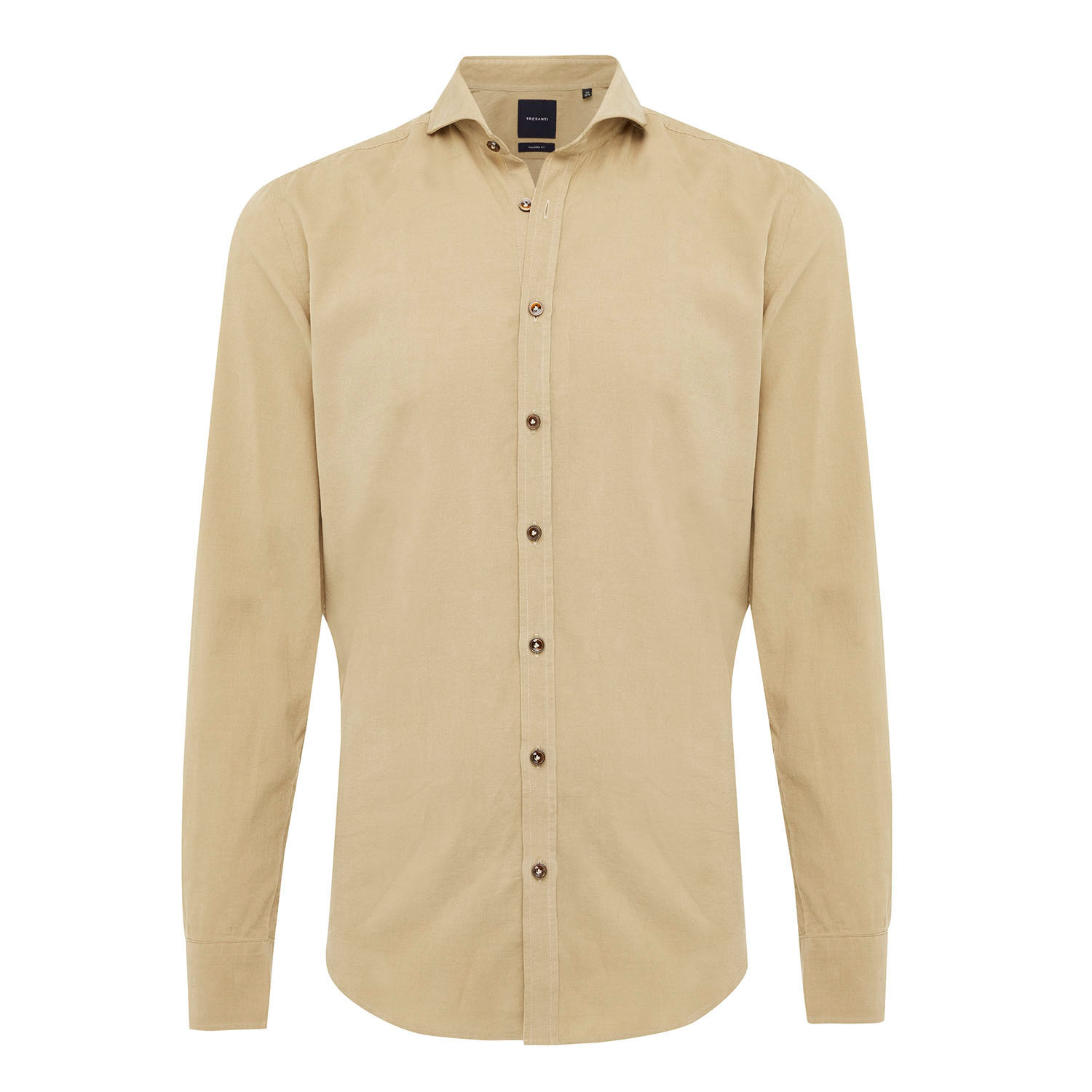 EMRIC | Shirt with button closure and baby cord in beige