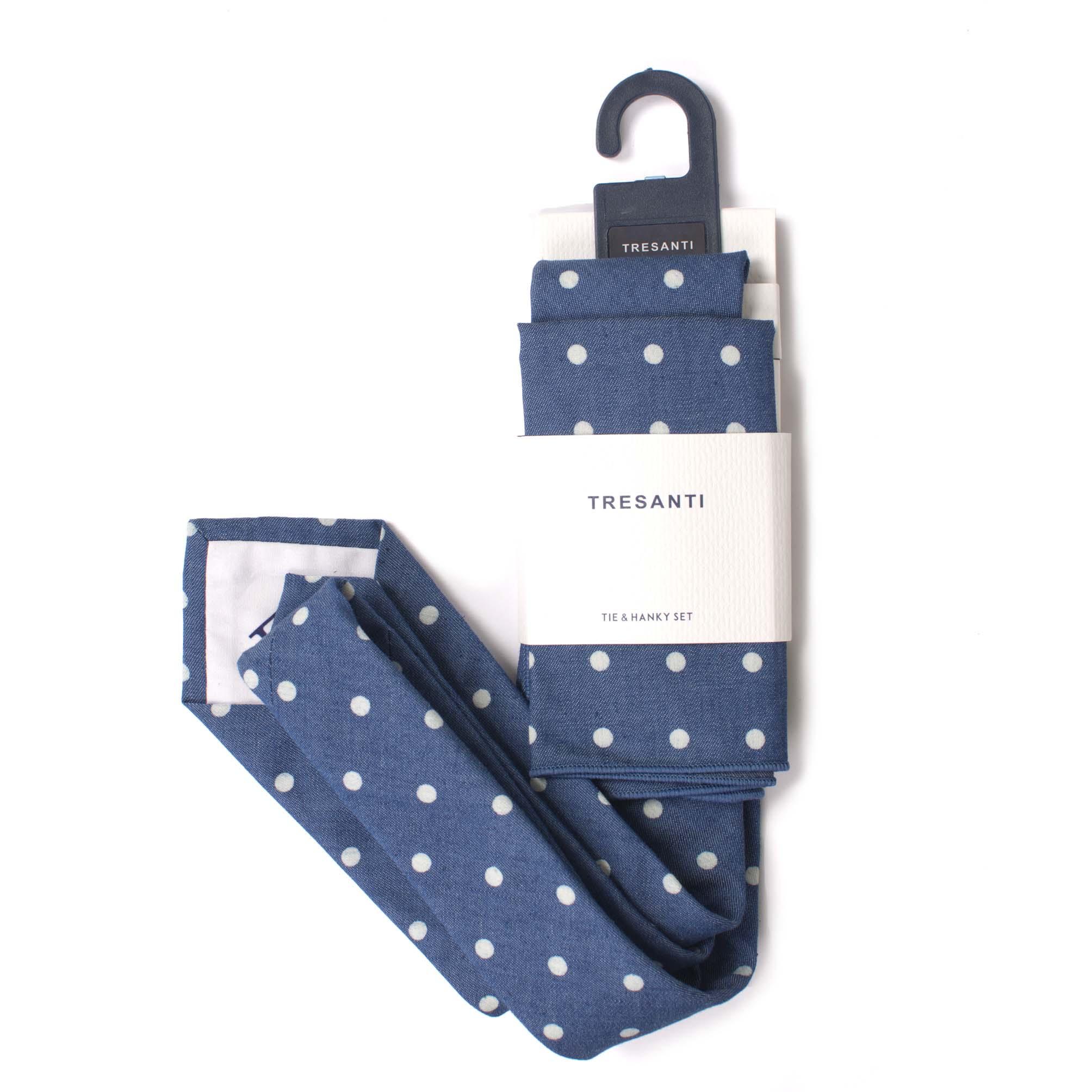 Tie & hanky set cotton dots