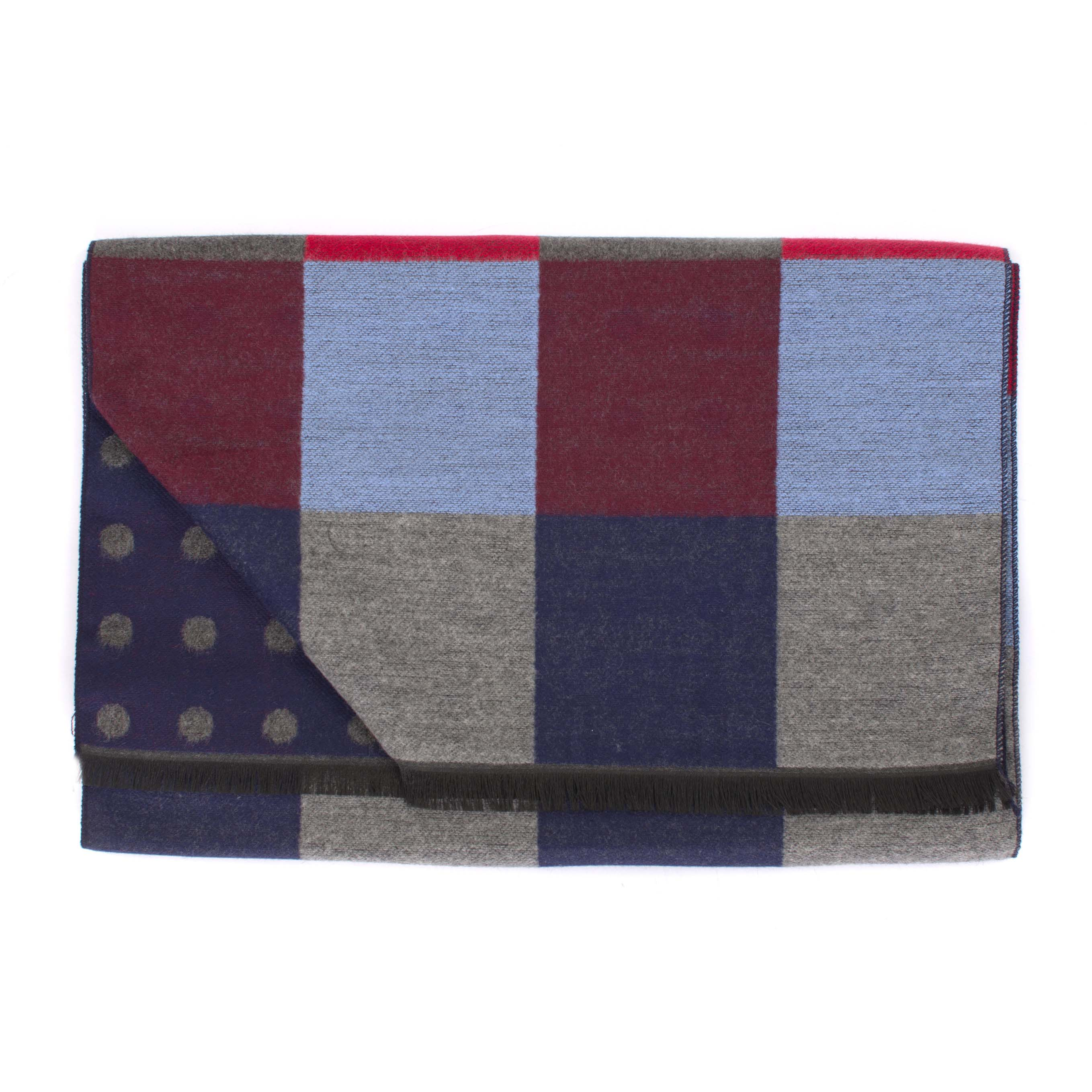 Scarf viscose double face square dots
