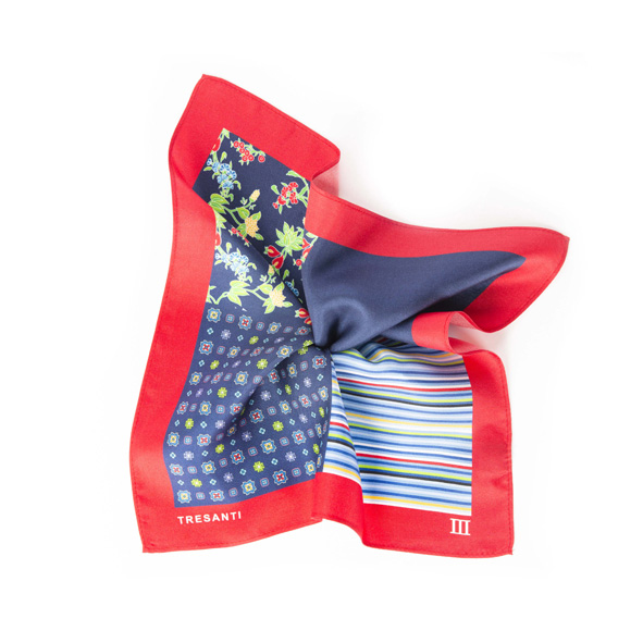 Pocket square printed red/navy made of silk