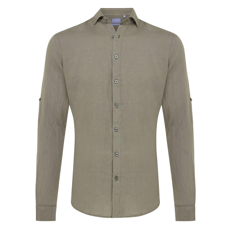 Tristan | Basic linen shirt army green