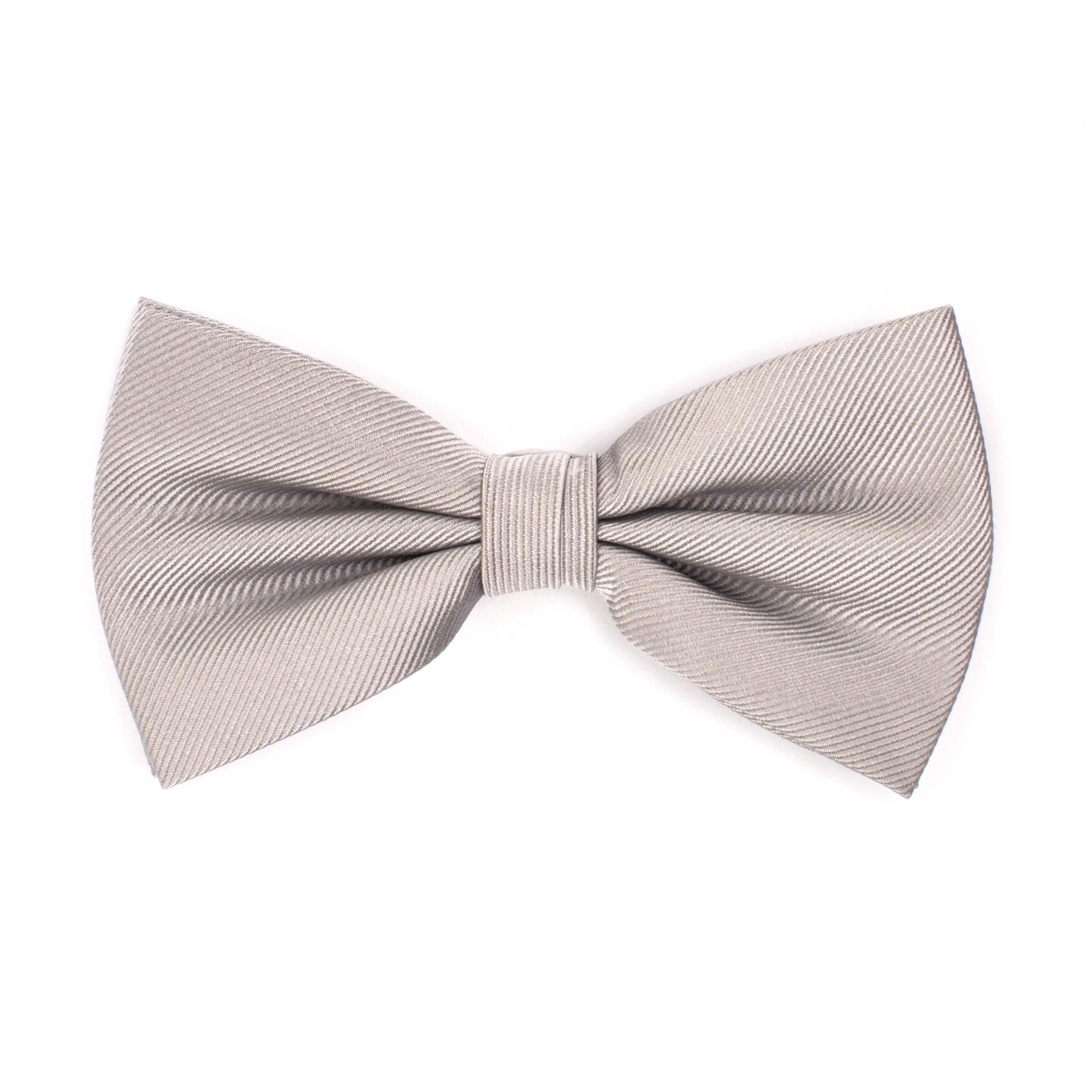 Bow tie classic ribbed silver