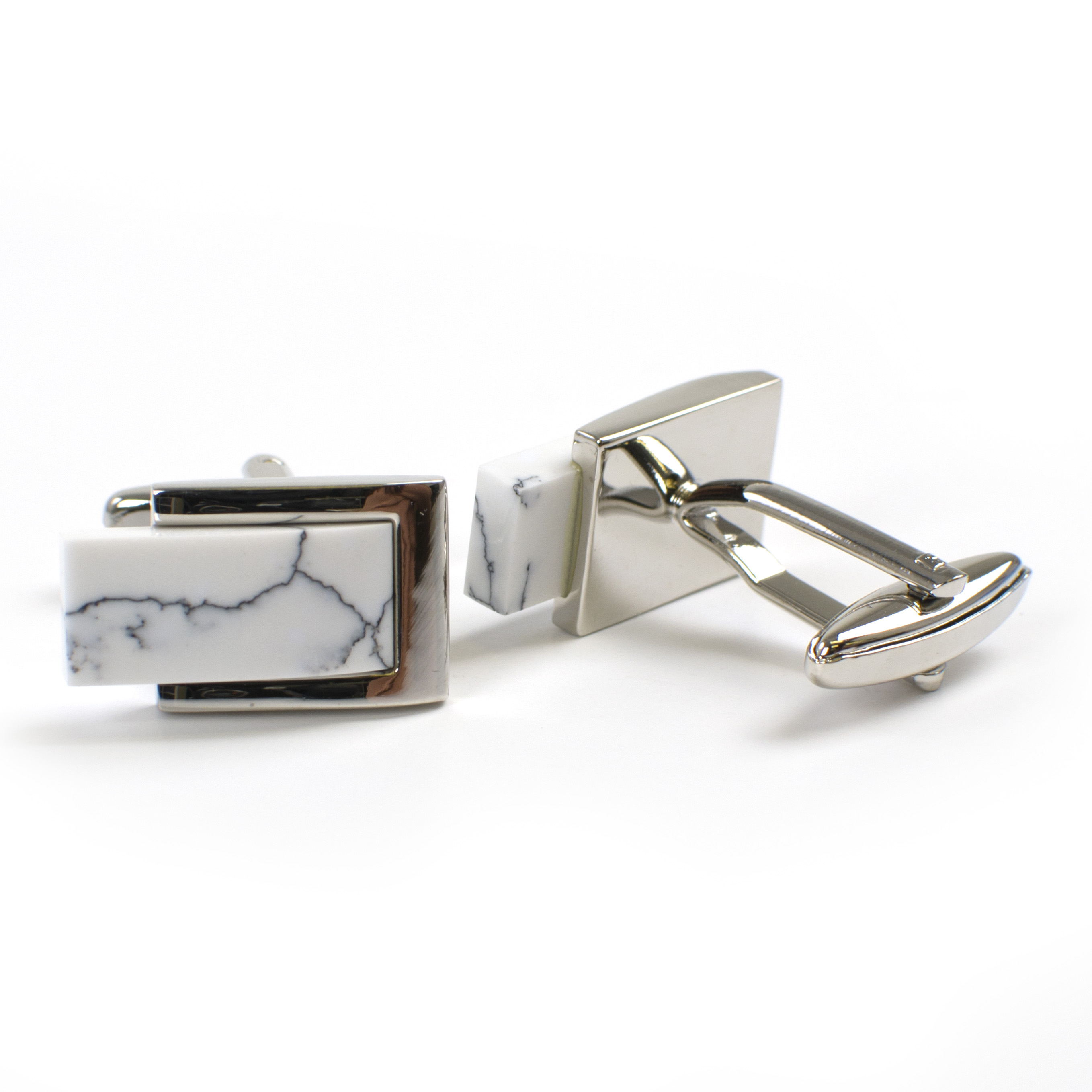 Cufflinks with white marble inlay