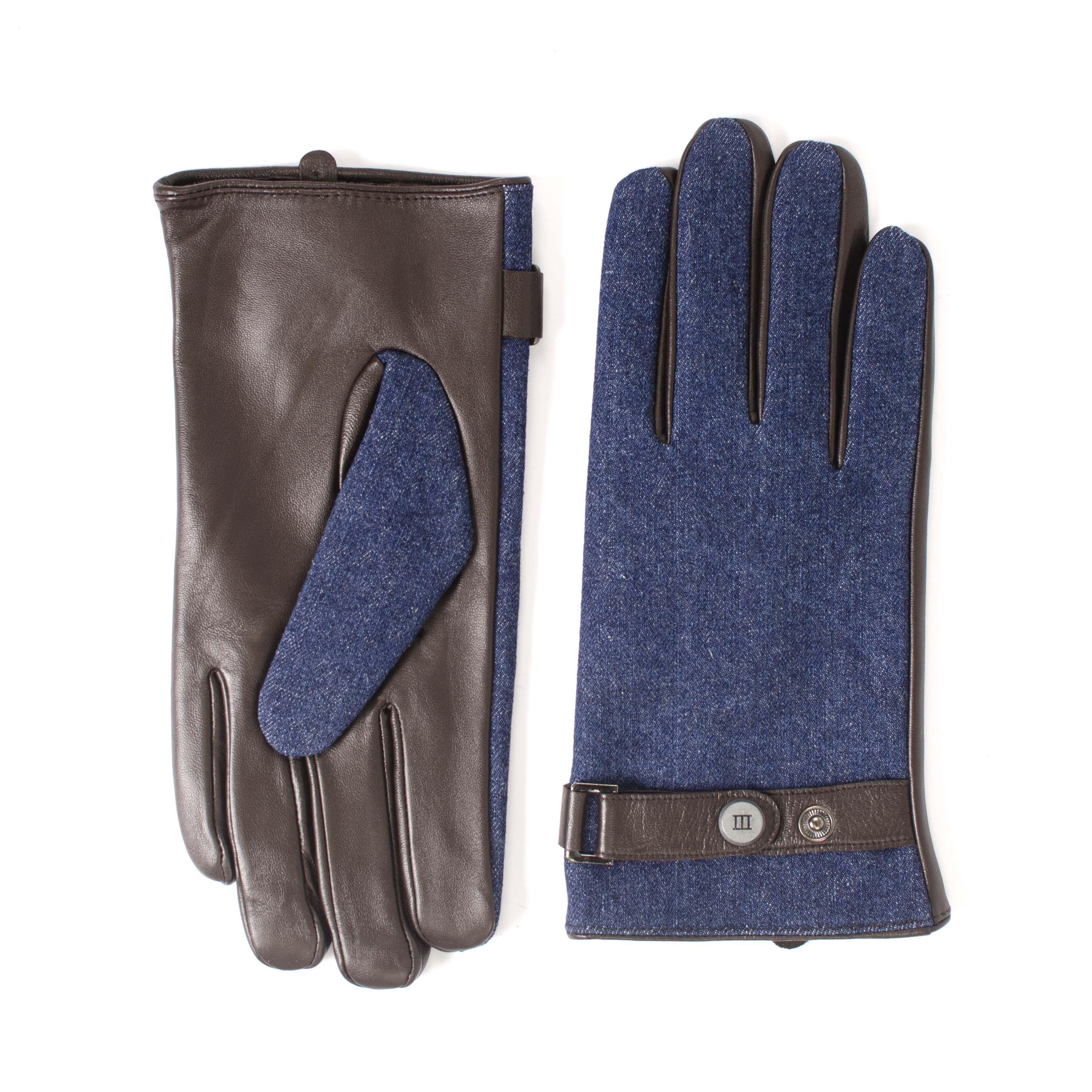 Jowen | Gloves brown leather with denim part