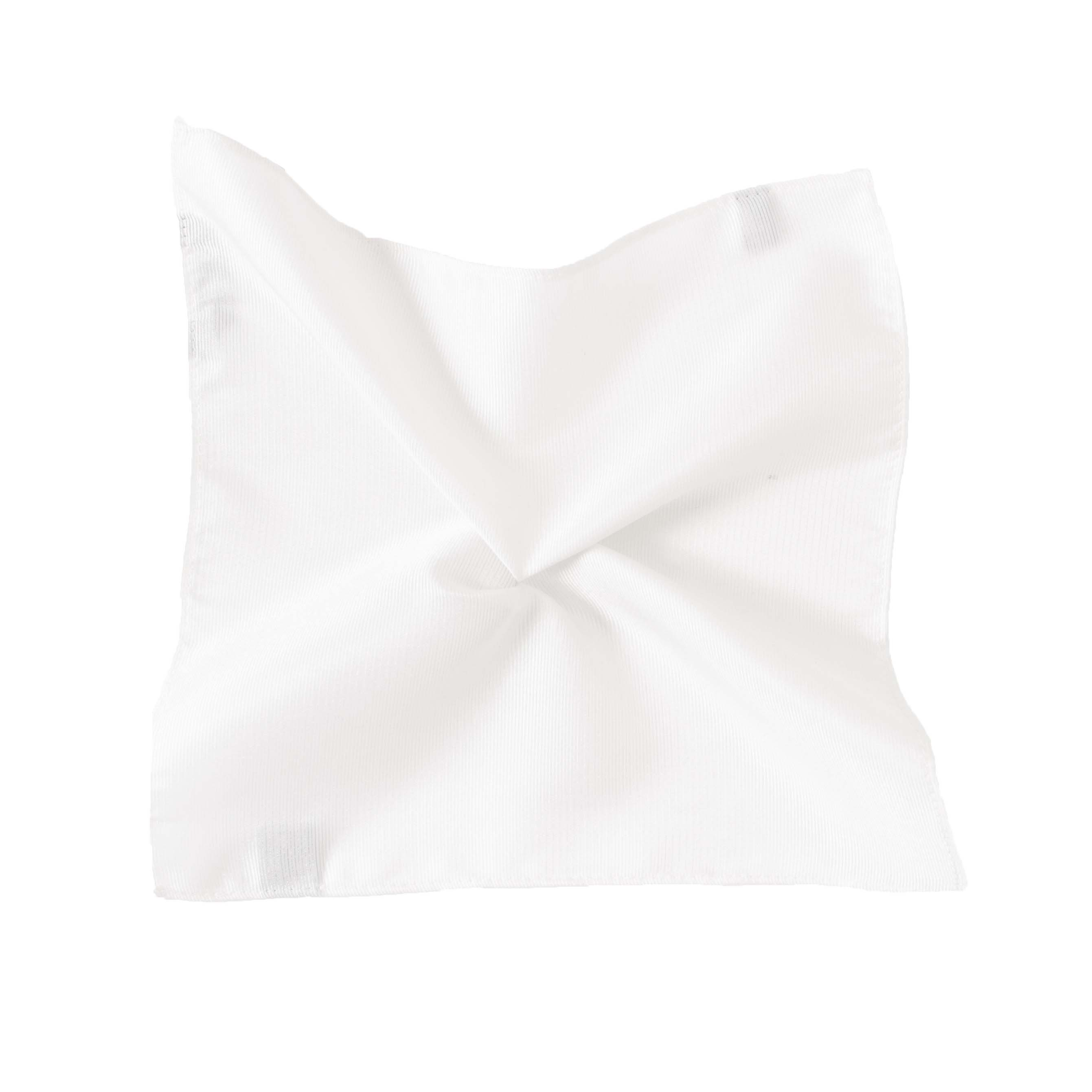 Pocket square classic white ribbed
