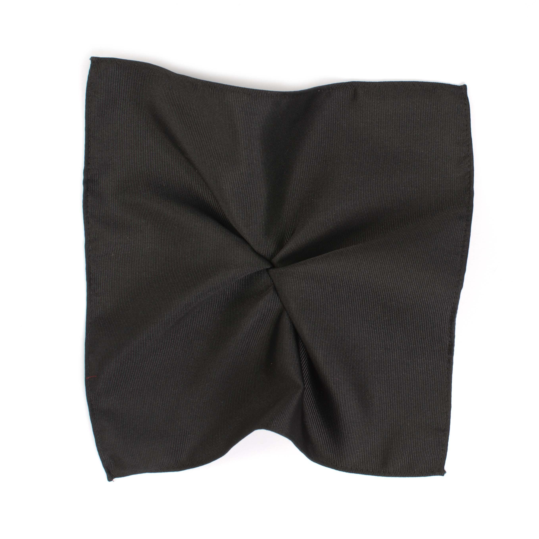 Pocket square classic black ribbed