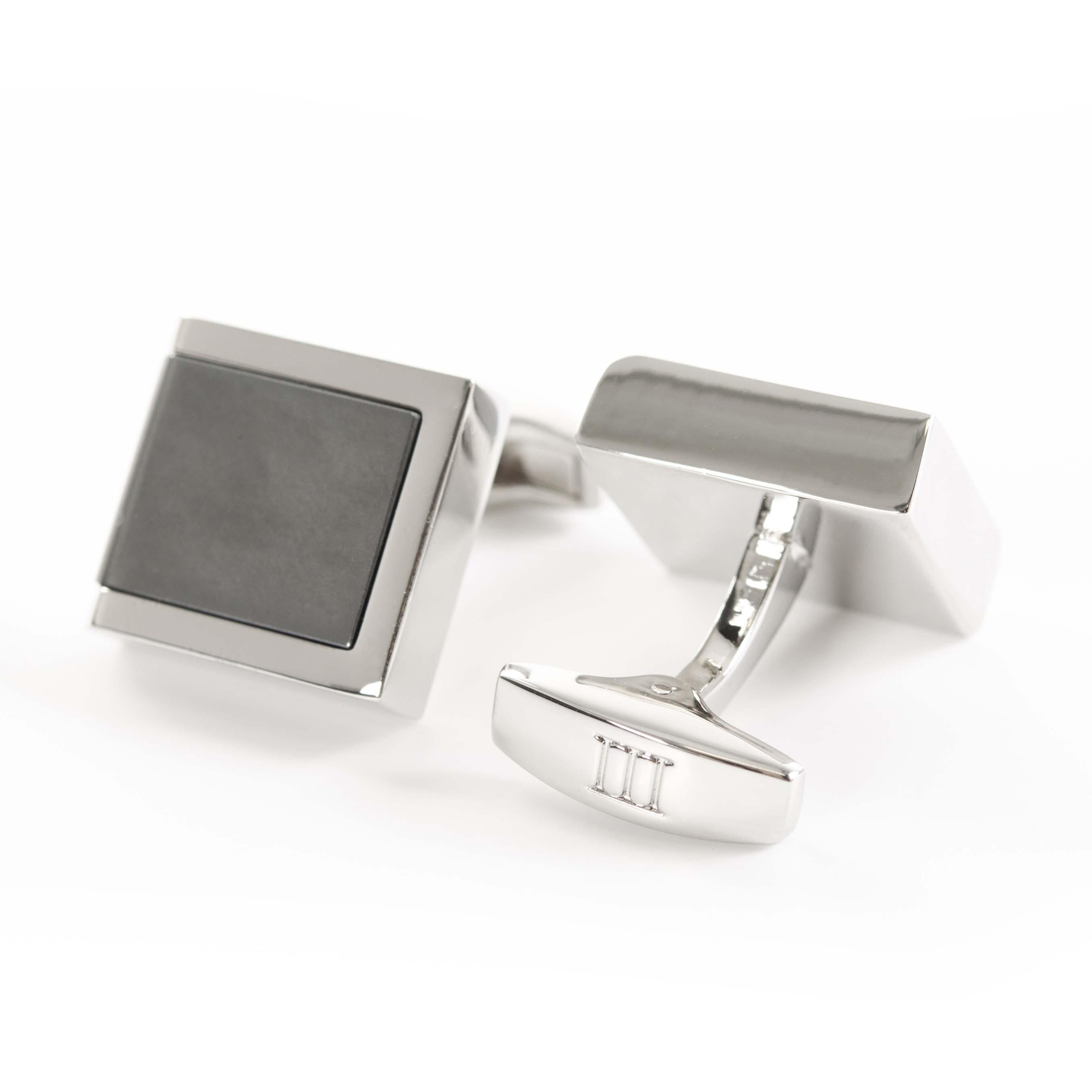 Cufflinks polished rhodium with Hematite inlay