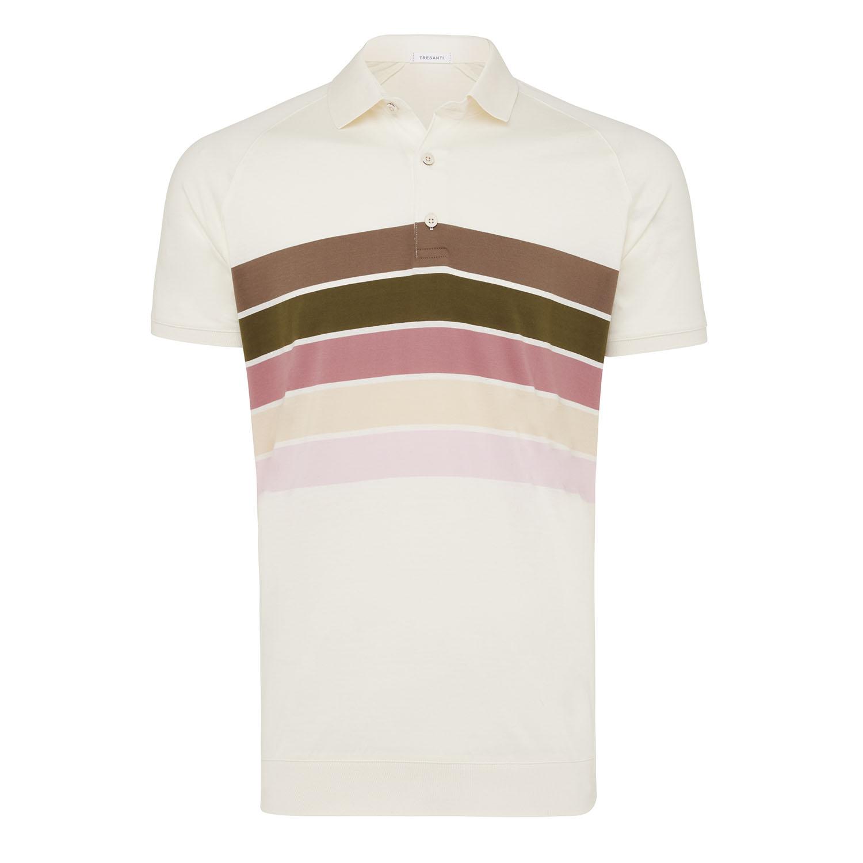 Maurits | Polo cotton mercerized striped beige