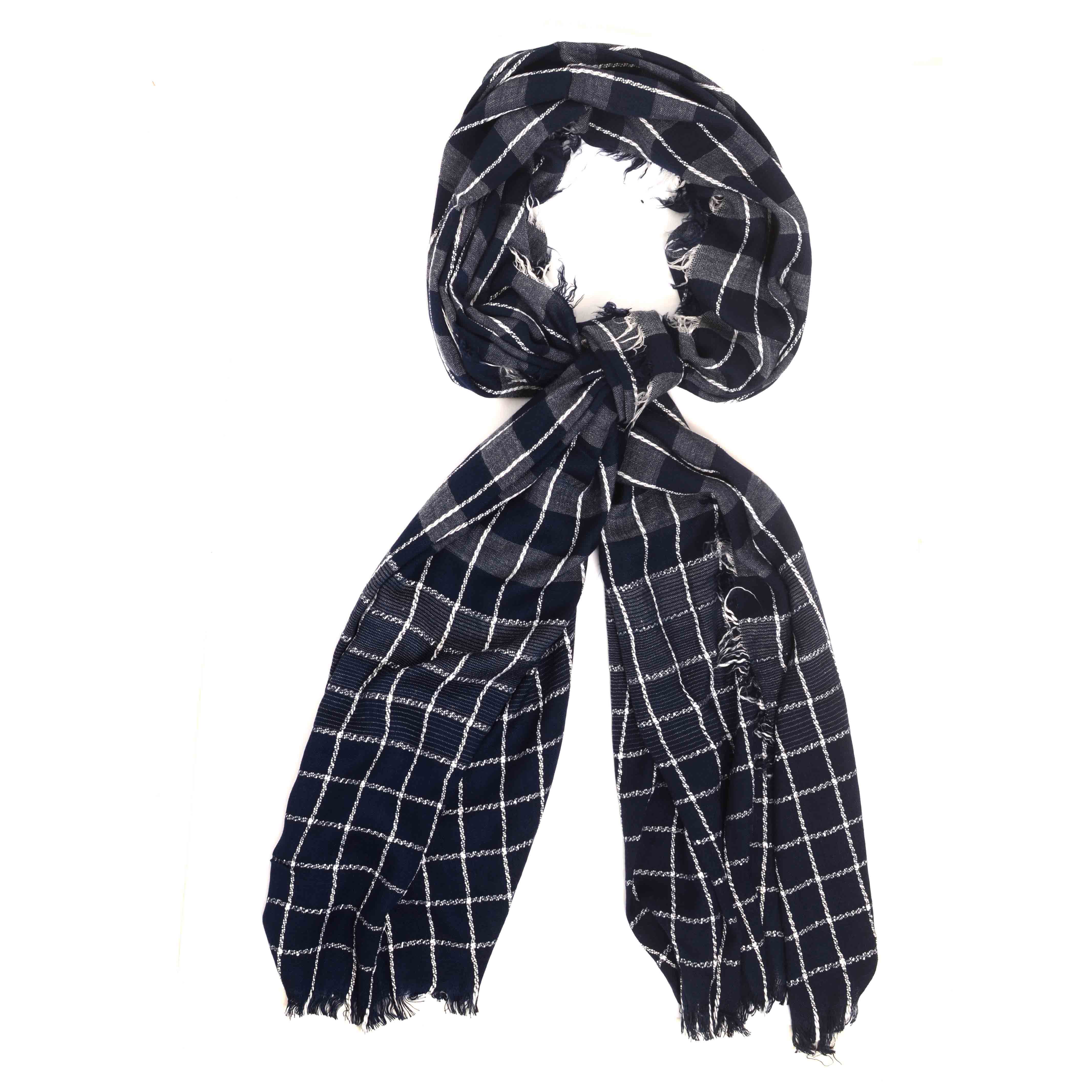 Meo   Scarf with stripe design and check pattern in gret/navy