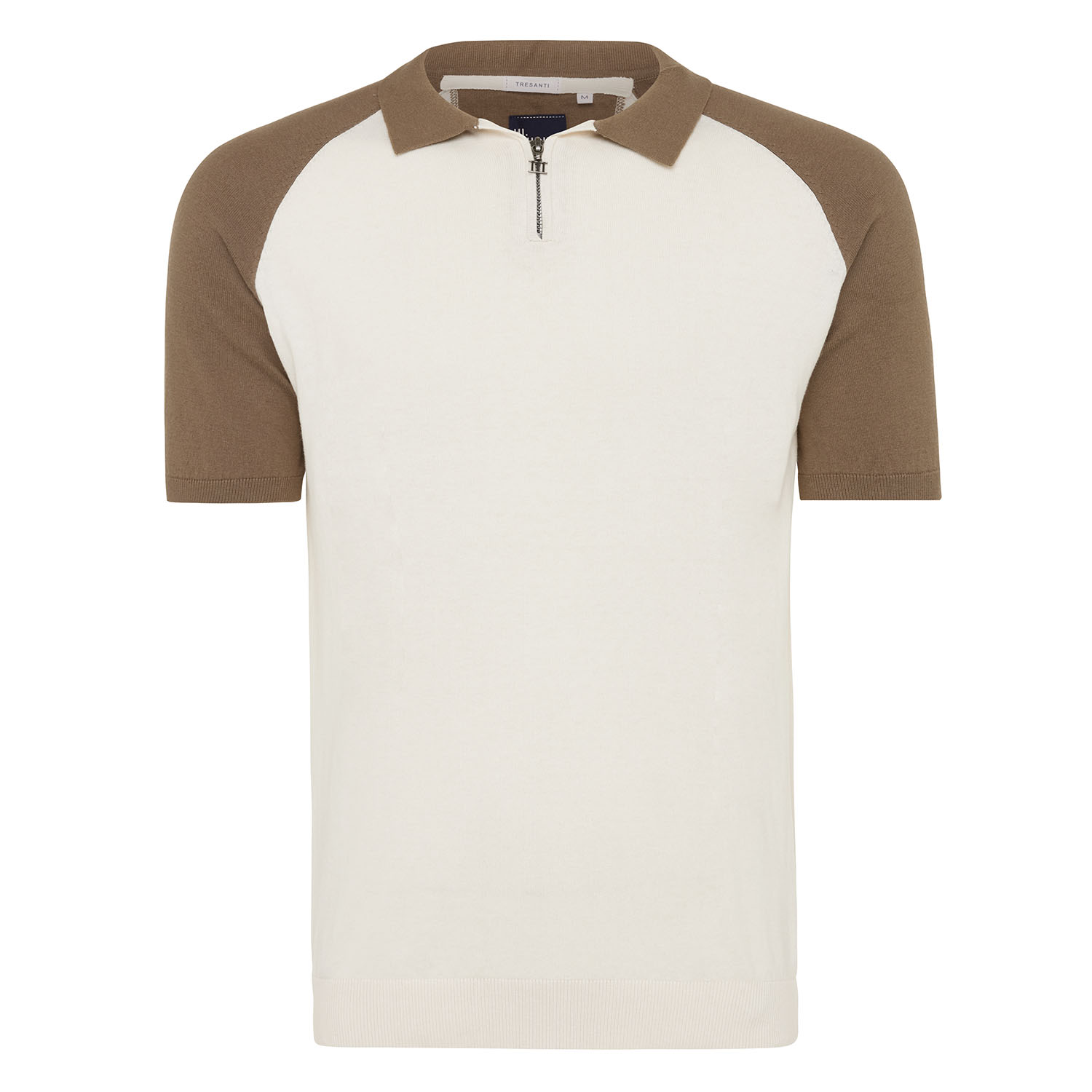Miles | Pullover polo collar with zipper short sleeve beige