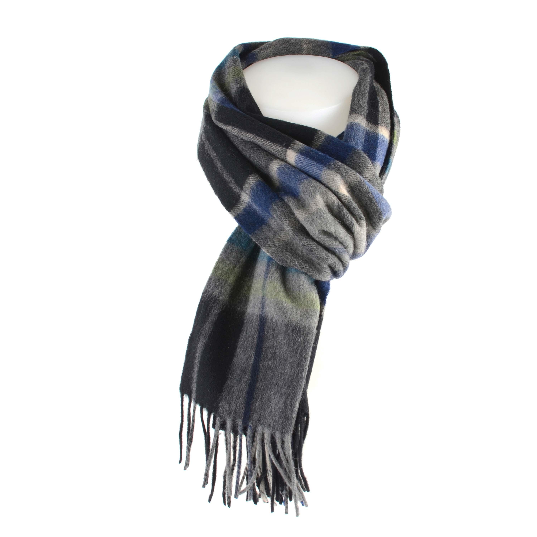 Scarf check, black/blue, mongolian virgin wool