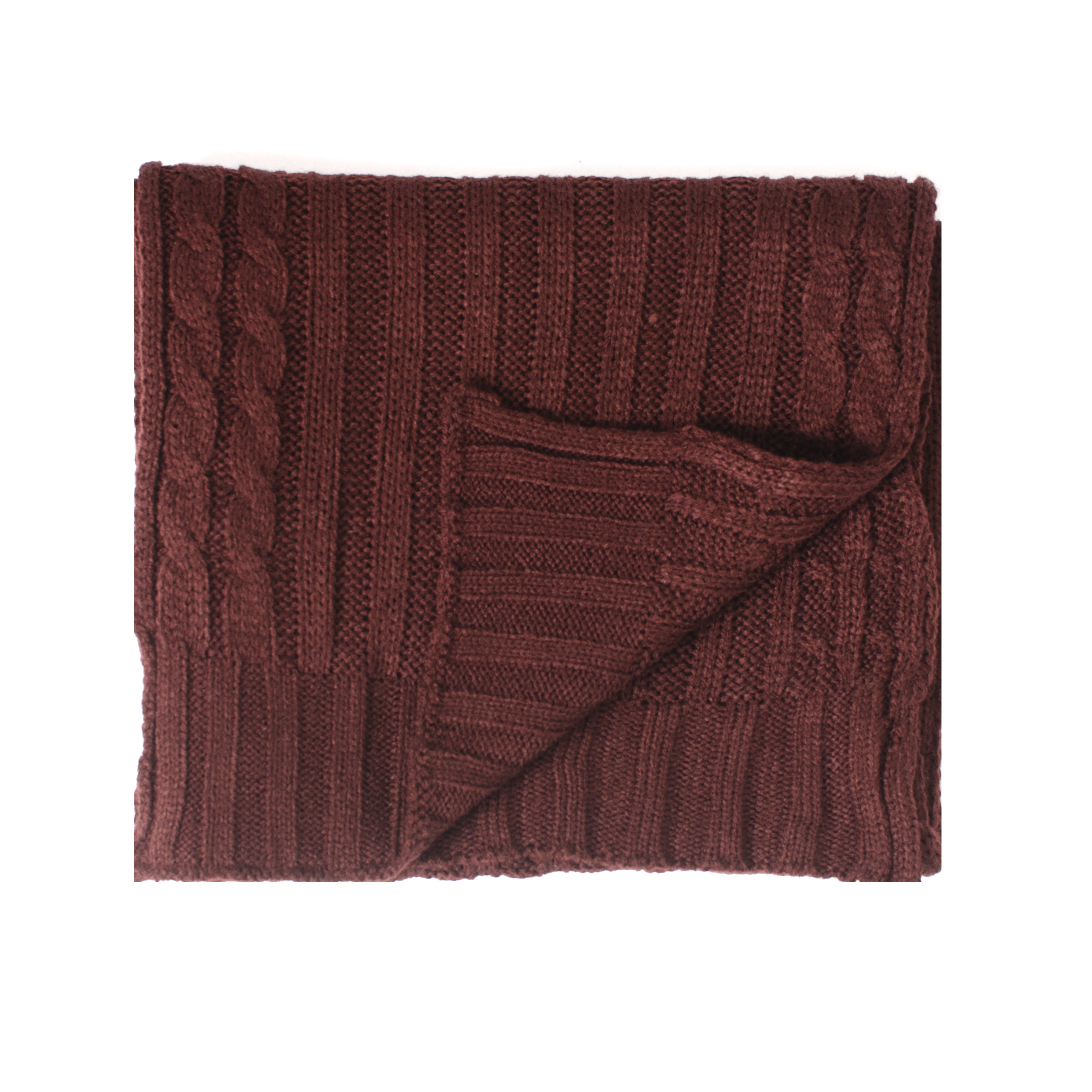 Josh   Scarf cable knitted  in burgundy