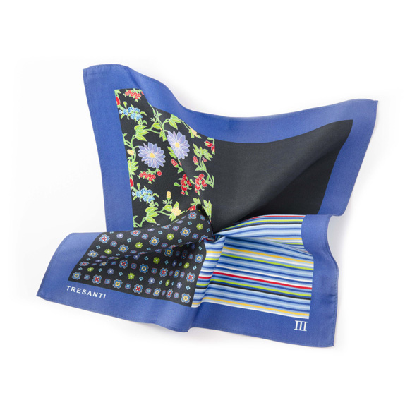 Pocket square printed blue/black made of silk