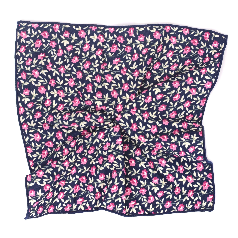 Pocket sqaure navy flowerprint cotton