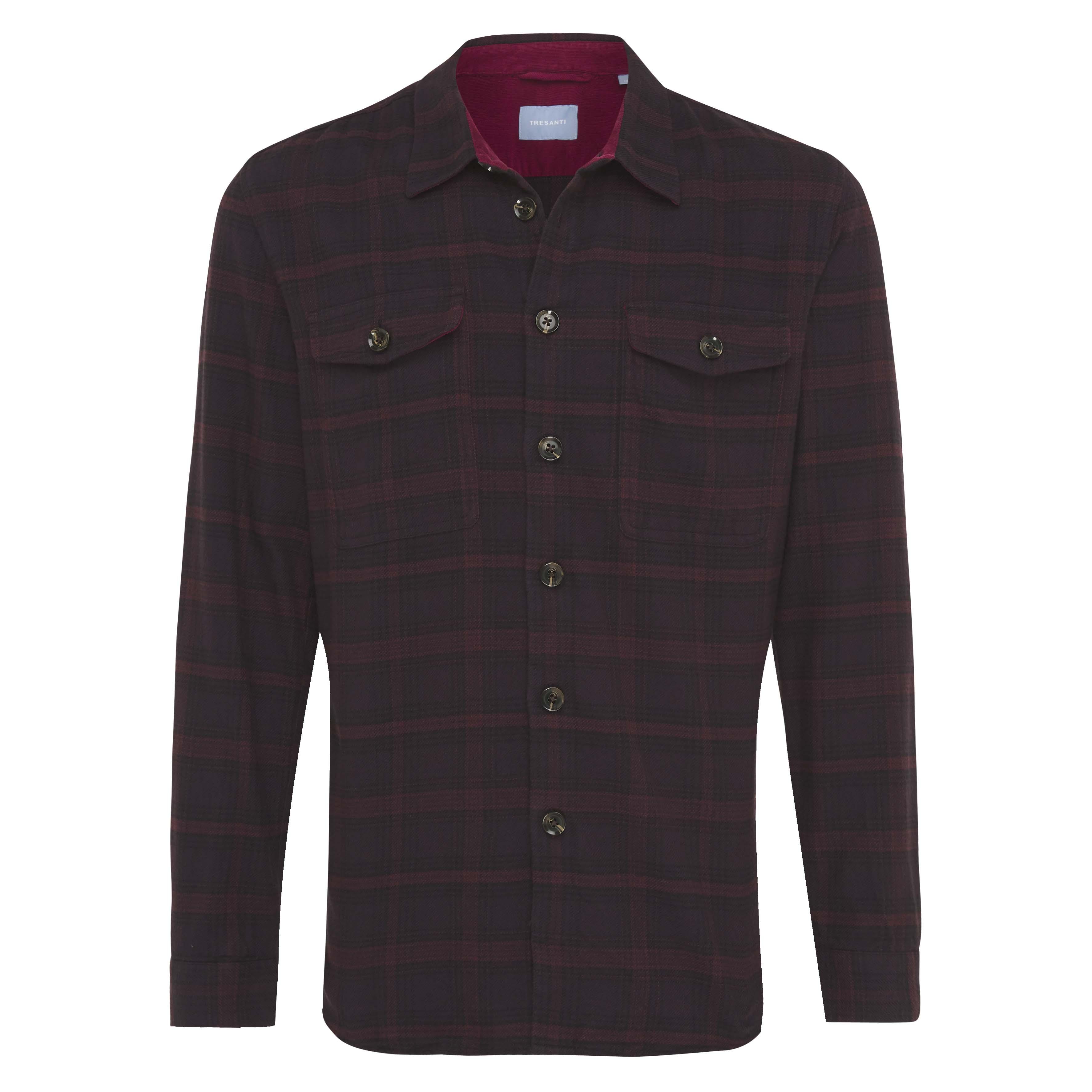 Job | Overshirt flannel checked burgundy