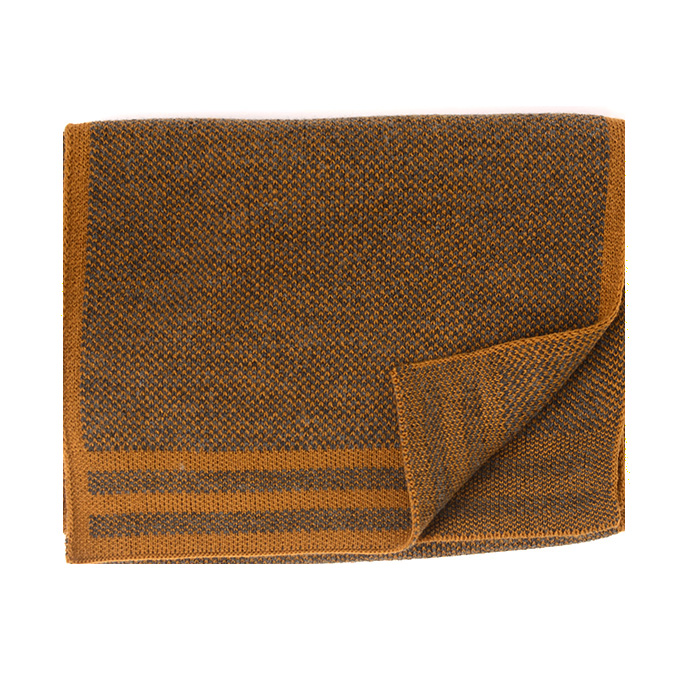 Jowin   Scarf knitted with colored border mustard