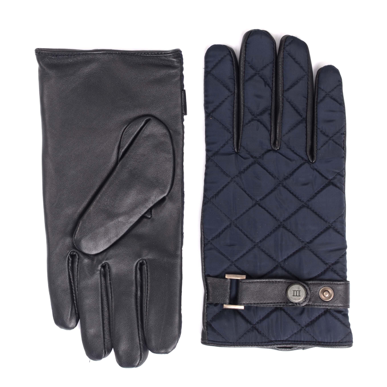 Gloves navy sheepleather  with matelasse nylon back