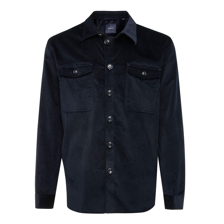 ENNIO | Velvet shirt with button closure navy