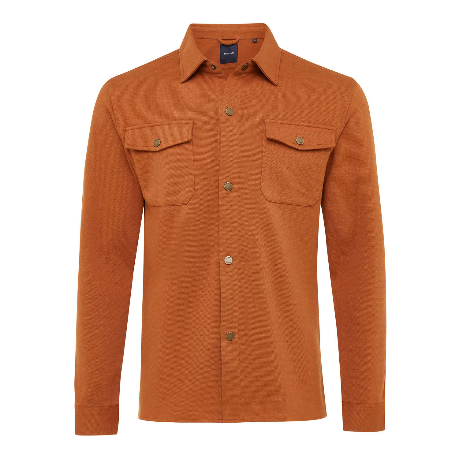 ELEVEN | Jersey overshirt with button closure cognac