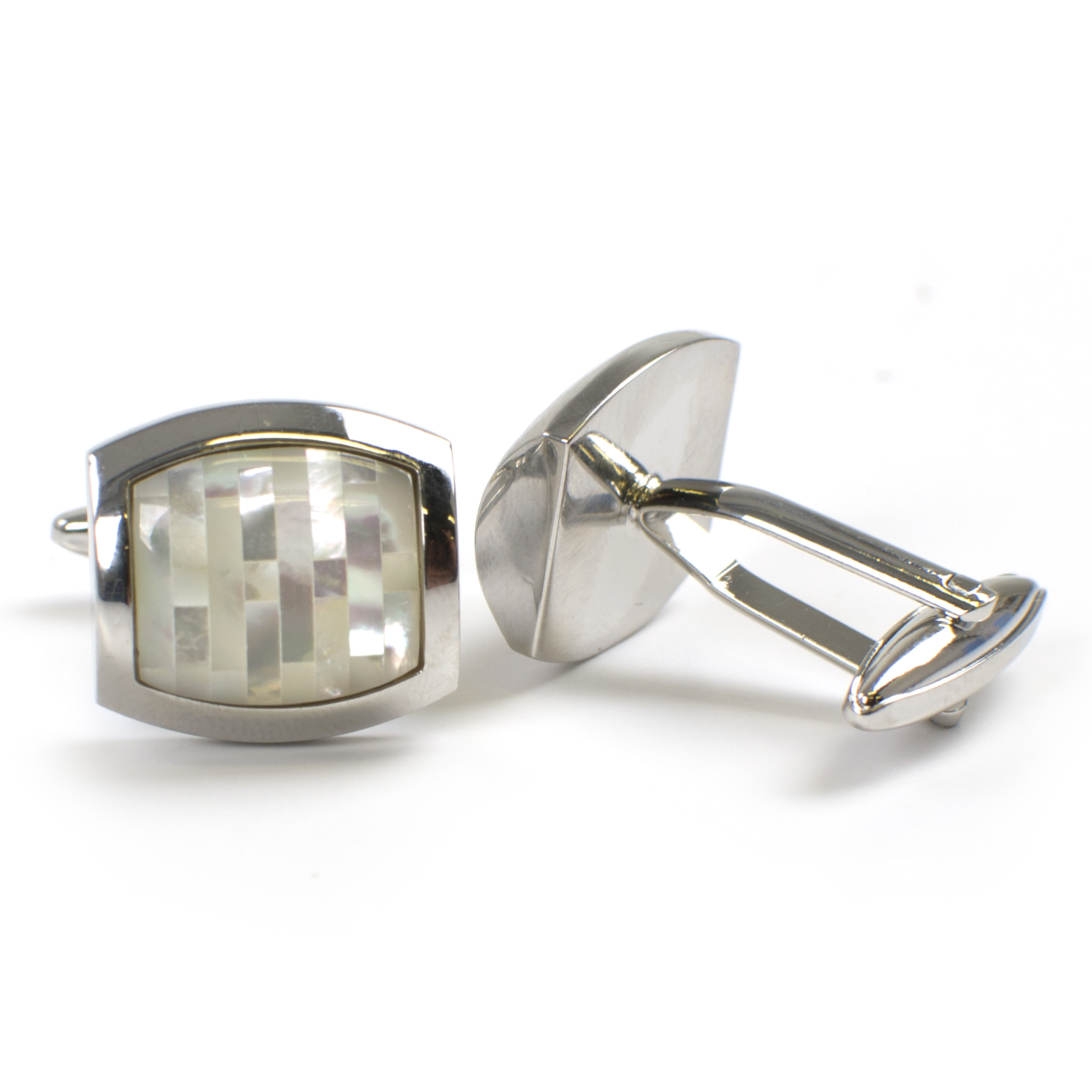 Cufflinks with mosaic mother of pearl inlay