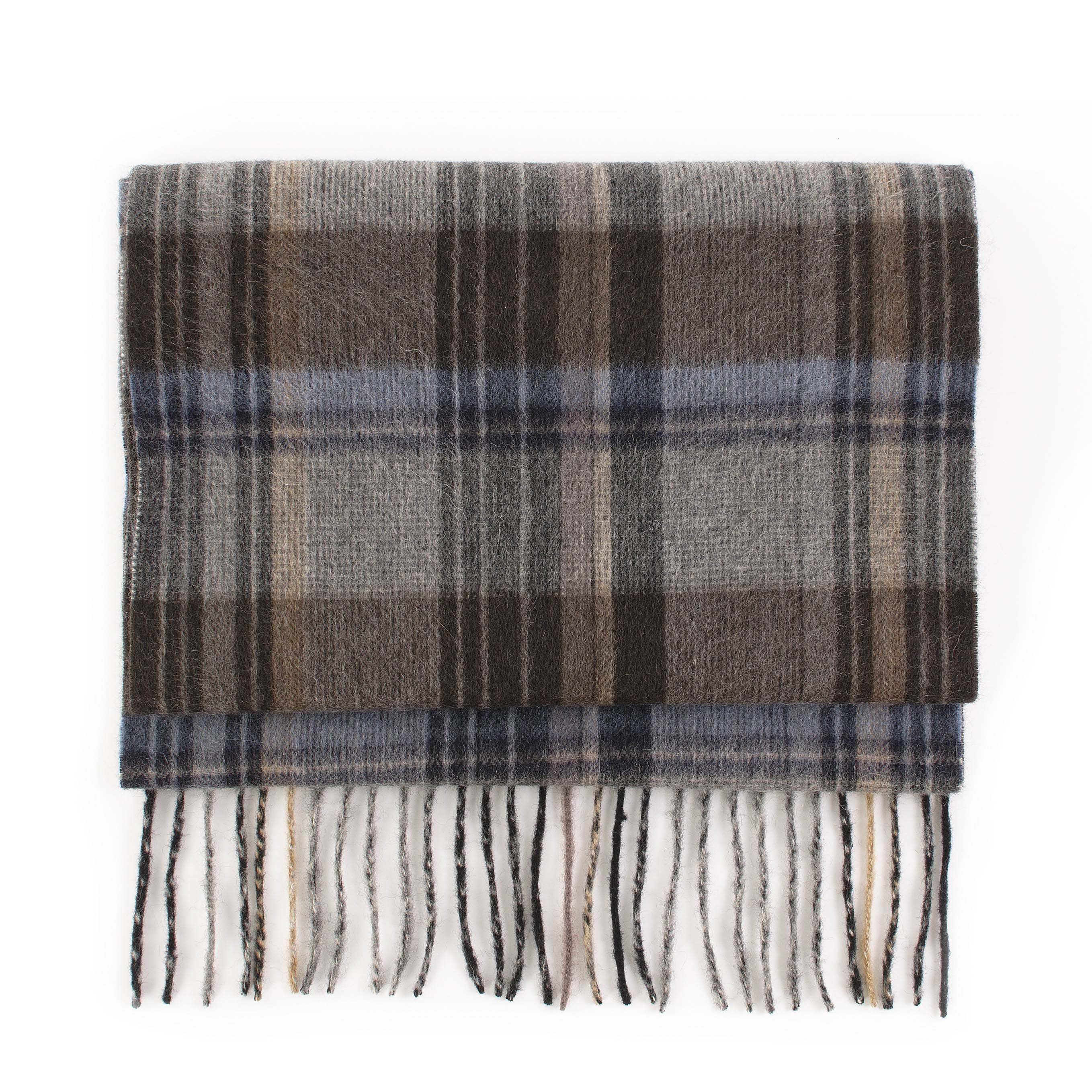 Scarf cashmere check, blue, grey, brown
