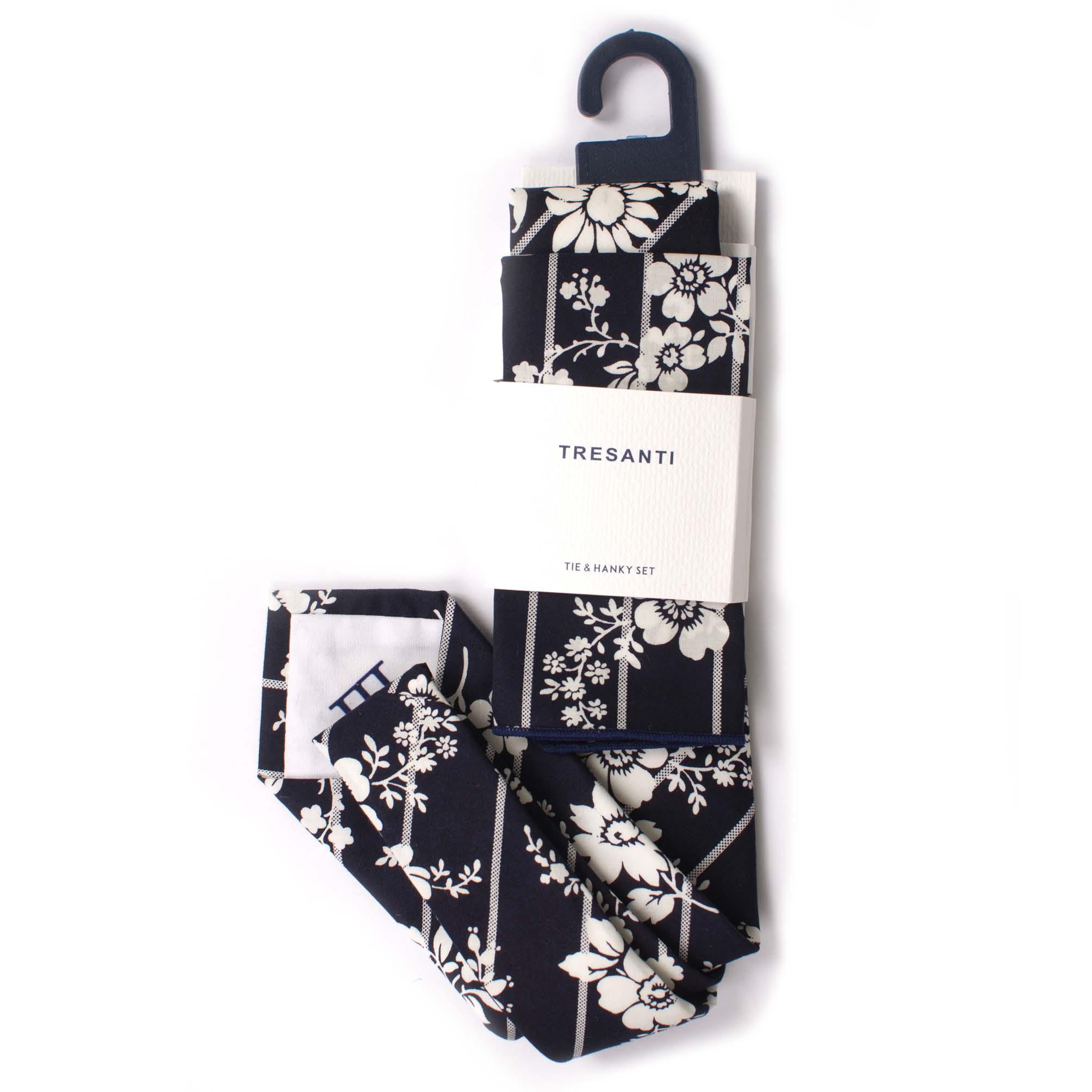 Tie & hanky set cotton flower design