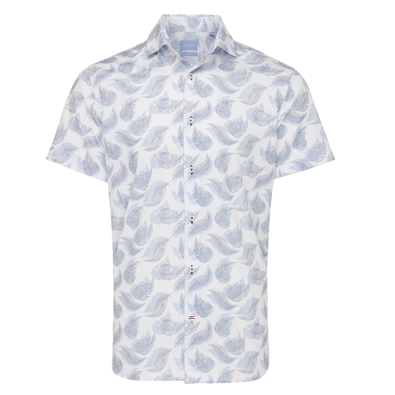 Morriz   Shirt leaves print blue
