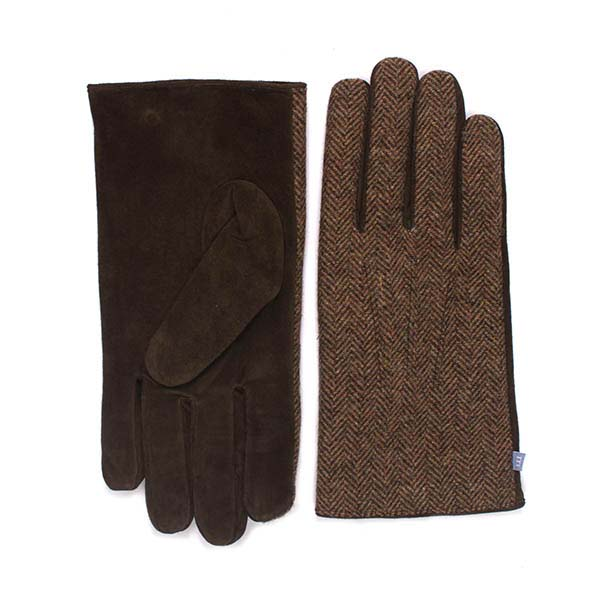 Gloves beige with herringbone fabric and brown leather