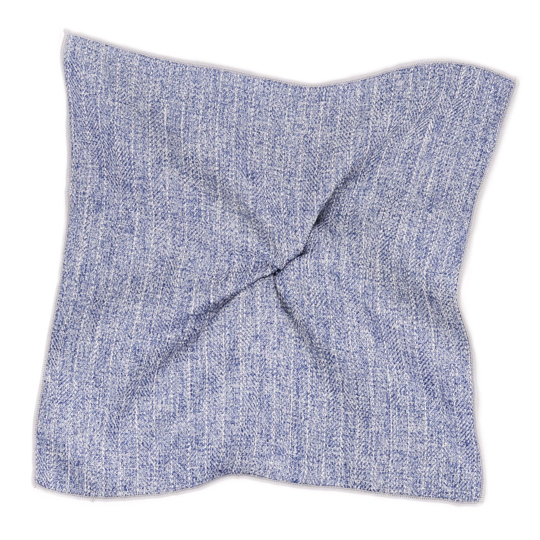 Pocket sqaure grey stripe cotton