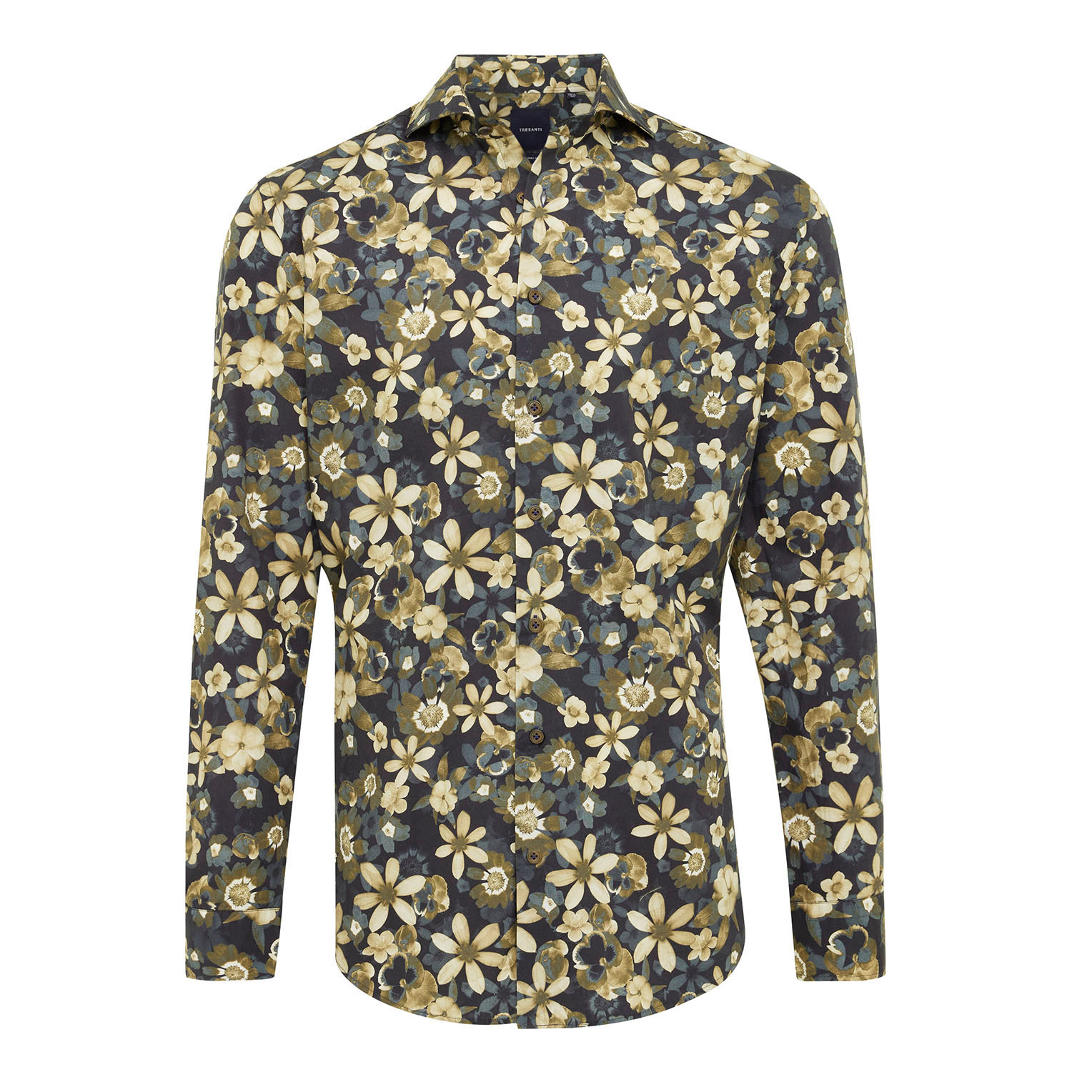 EPHRON | Shirt with button closure and leaf pattern beige