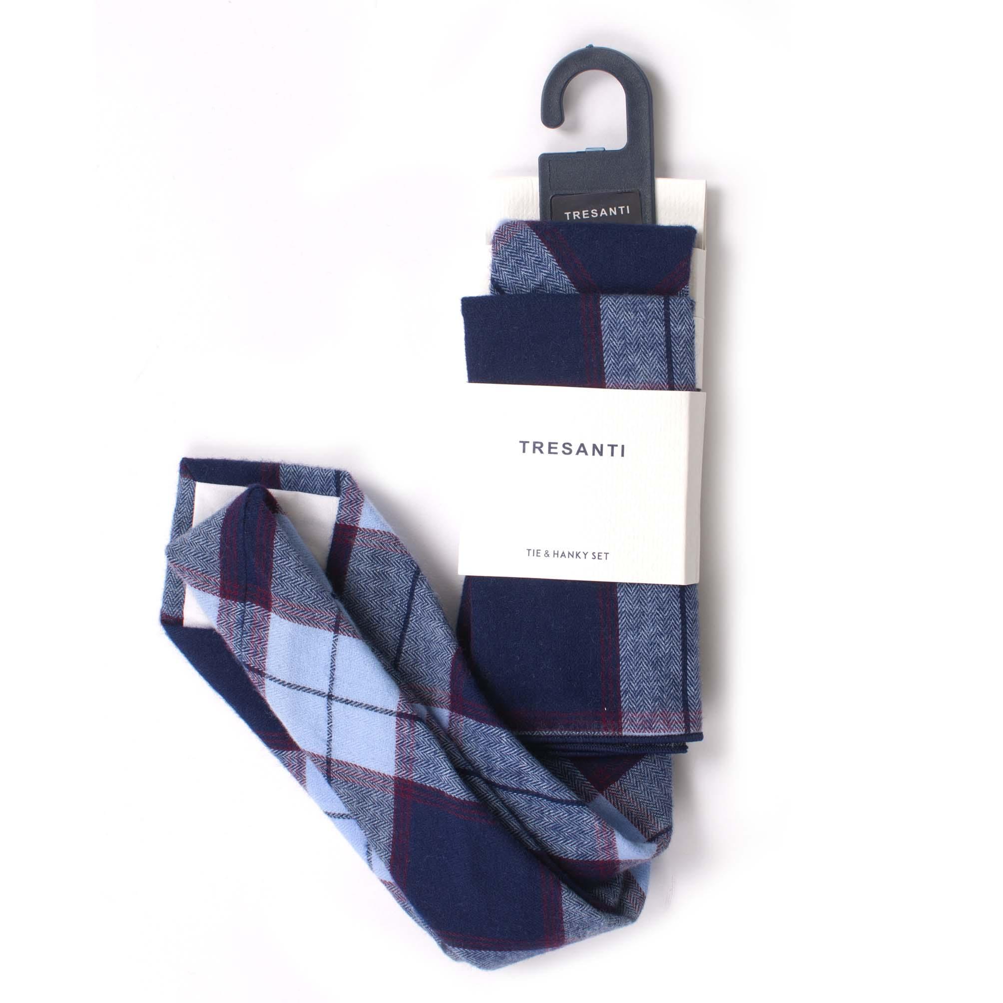 Tie & hanky set cotton check design