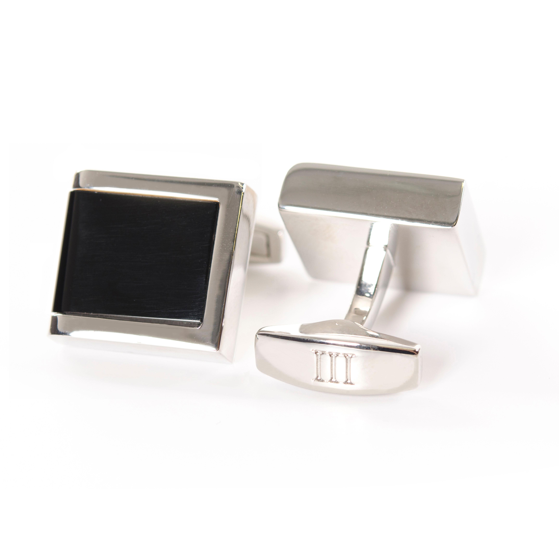 Cufflinks polished rhodium with Onyx inlay