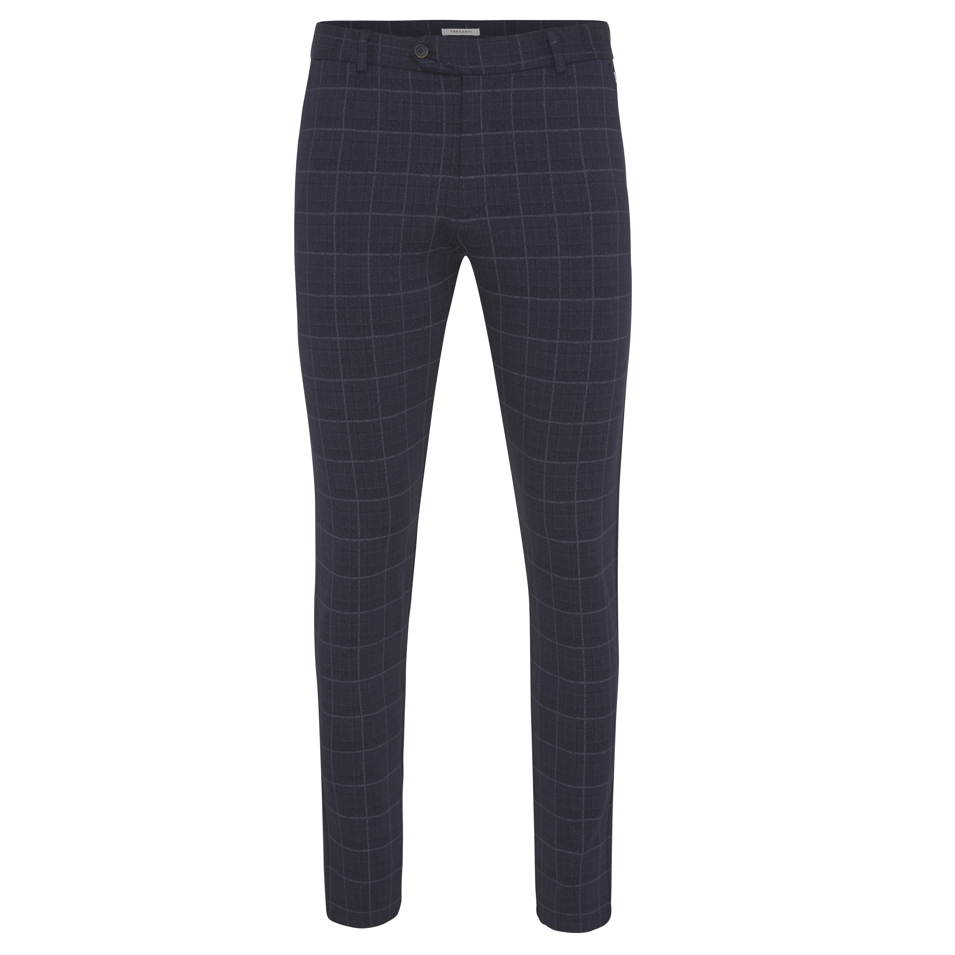 Justin | Trousers stretch navy check | COMING BACK