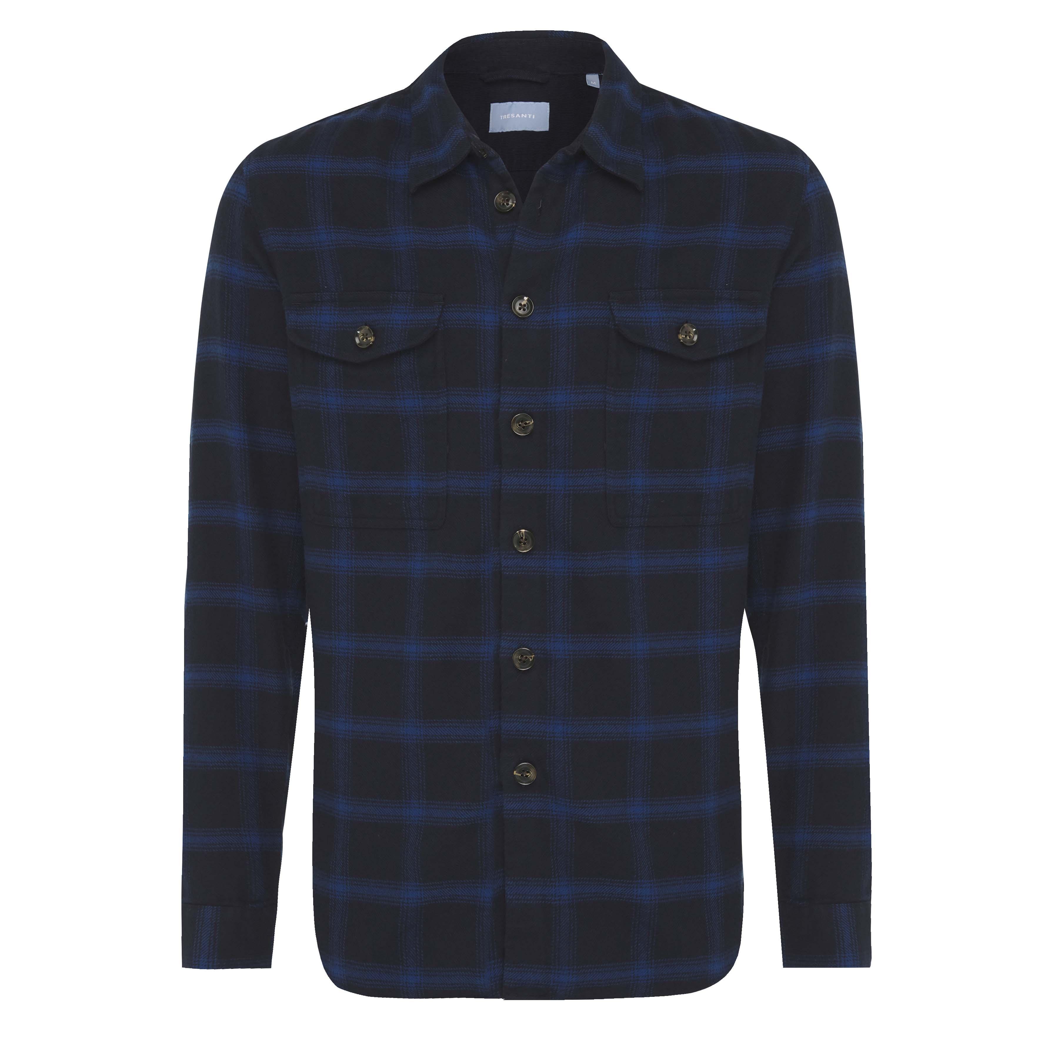 Job | Overshirt flannel checked blue