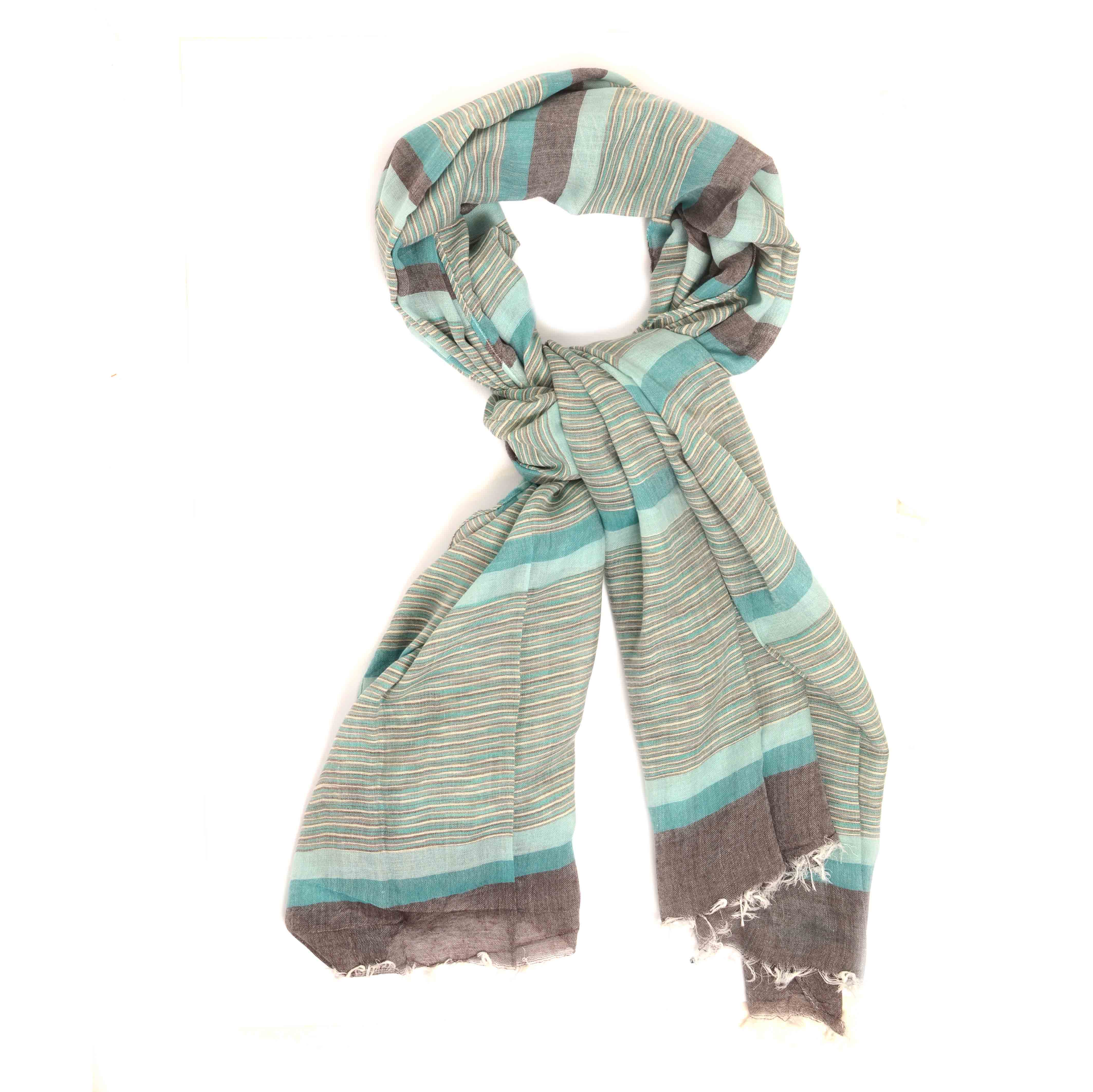 Maceo   Scarf with stripe dessin in grey tints and light blue accents