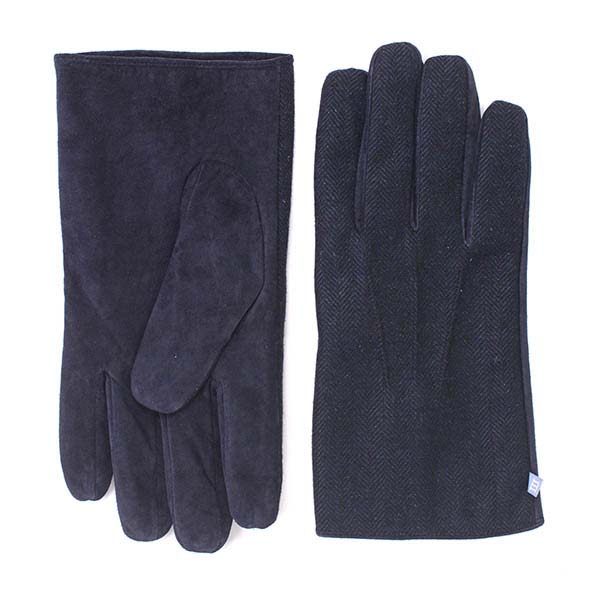 Gloves navy with herringbone fabric and navy leather