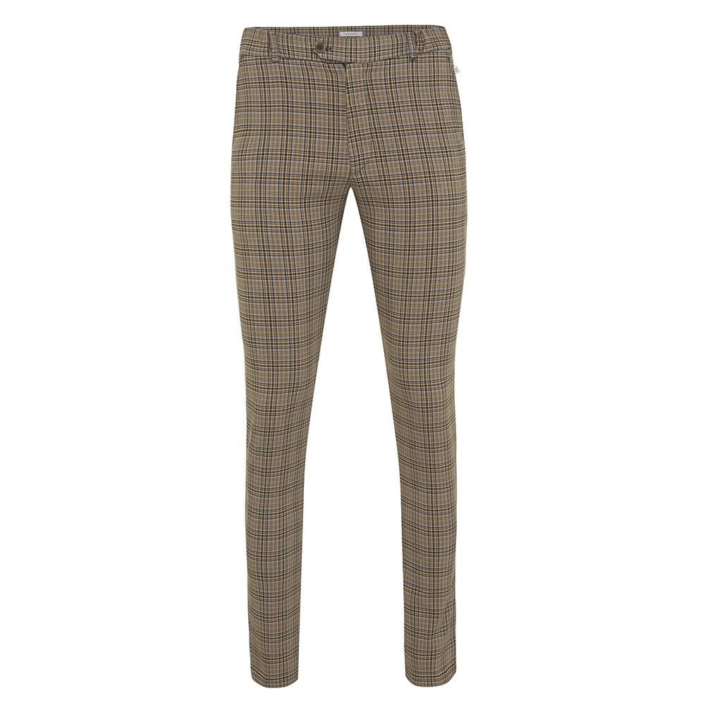 Jalen | Trousers checked in the colour camel with light blue accents