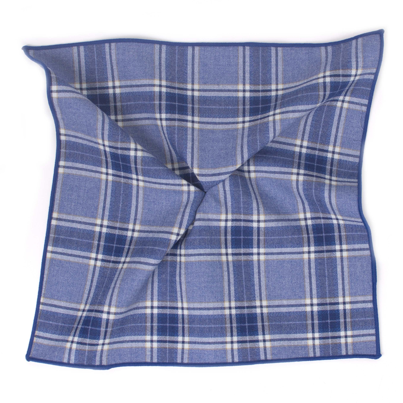 Pocket sqaure blue Check cotton