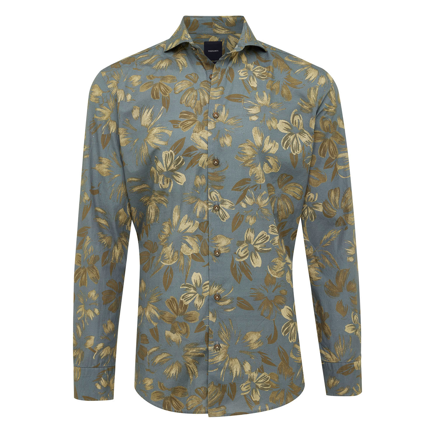 EVIN | Shirt with button closure and floral design olive green
