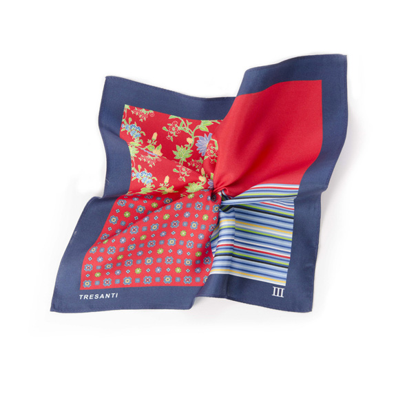 Pocket square printed navy/red made of silk